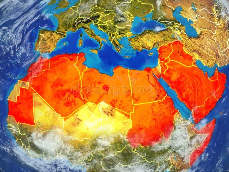 Lega araba su terra da spazio royalty illustrazione gratis