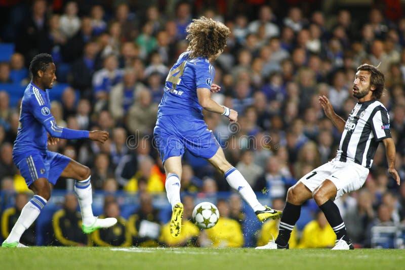 Lega di campioni di UEFA di calcio Chelsea v Juventus immagini stock libere da diritti