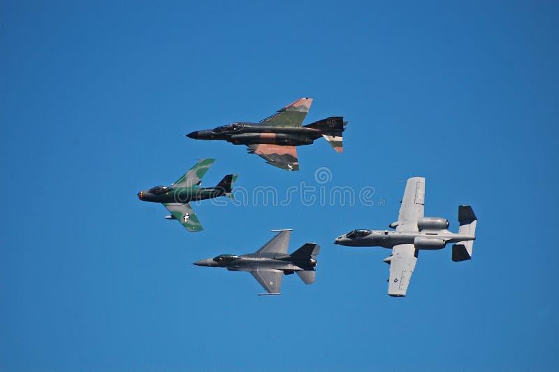 Legacy Flight 4. Clockwise from left: F86 sabre, F4 Phantom, A10 Thunderbolt, F16 viper royalty free stock photos