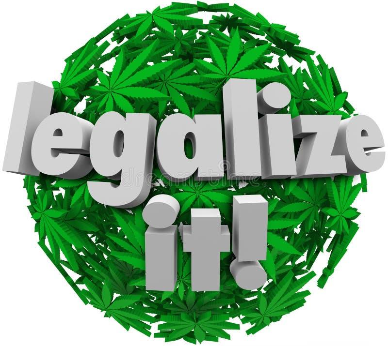 Legalícelo que la esfera médica de la hoja de la marijuana aprueba voto stock de ilustración