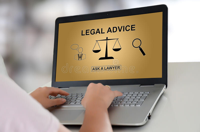 Legal advice concept on a laptop royalty free stock photo