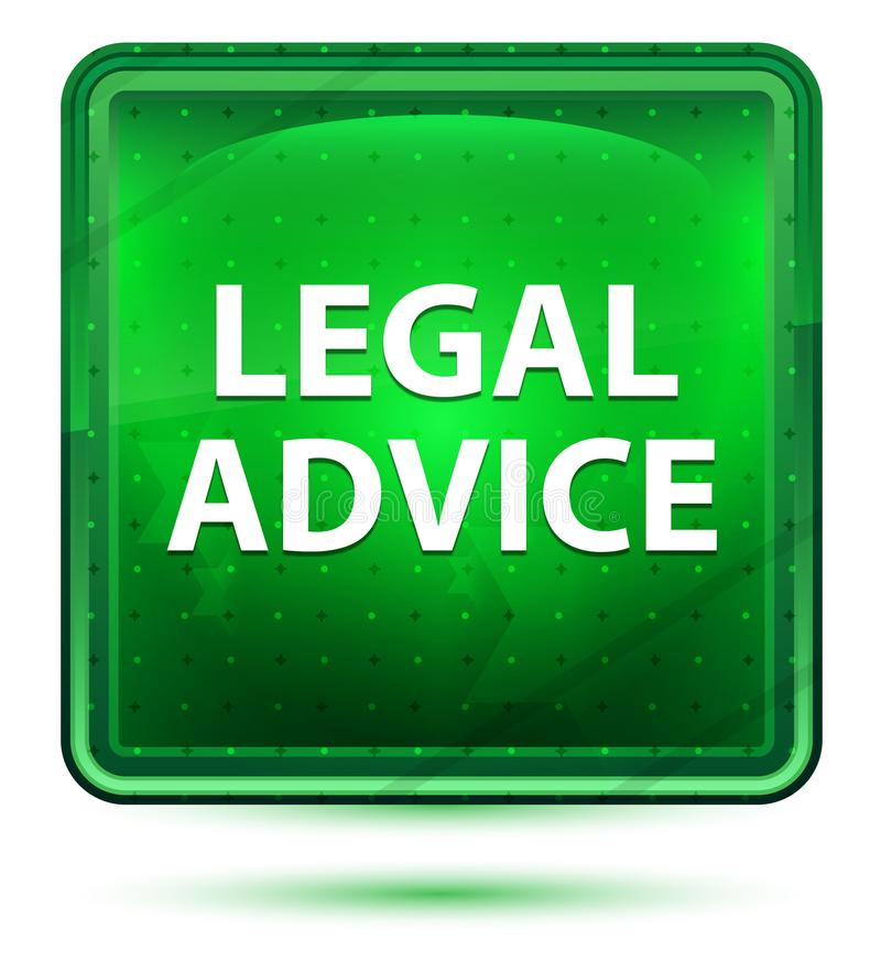 Legal Advice Neon Light Green Square Button royalty free illustration