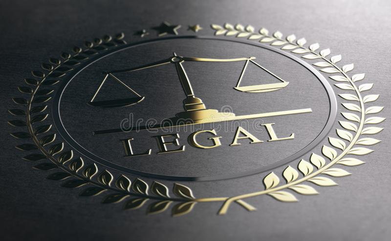 Legal Advice, Scales Of Justice, Golden Law Symbol Over Black Pa royalty free illustration