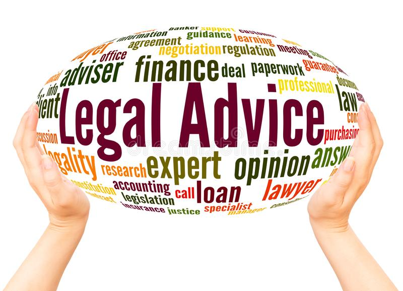 Legal Advice word cloud hand sphere concept stock photo