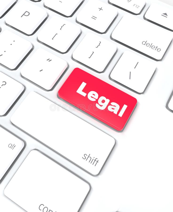 Legal advice word keyboard red key. Concept online easy access to information stock illustration