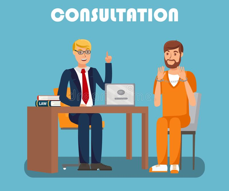 Legal Advisor Consultation Flat Banner Template. Court Protection Services Advertising Typography. Attorney, Solicitor Meeting Handcuffed Defendant Cartoon vector illustration
