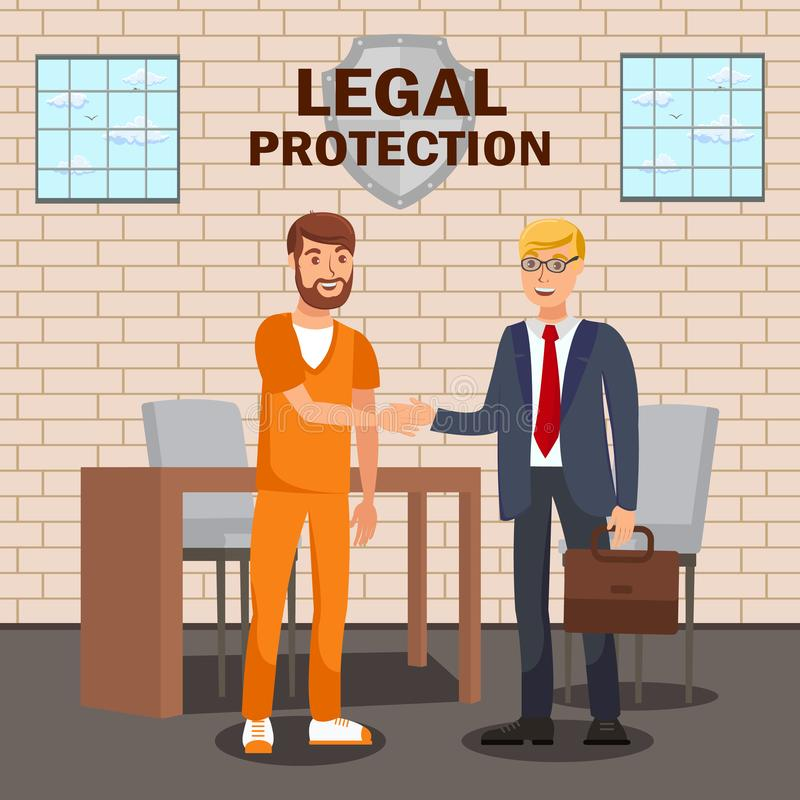 Legal Advisor, Lawyer Service Flat Banner Template. Law Company, Firm Advertising Typography. Solicitor Meeting Imprisoned Defendant Cartoon Characters royalty free illustration