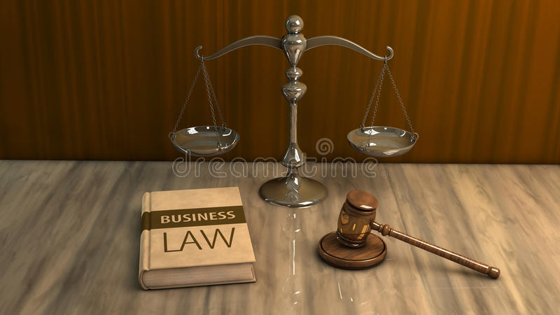 legal attributes: gavel, scale and law book stock illustration