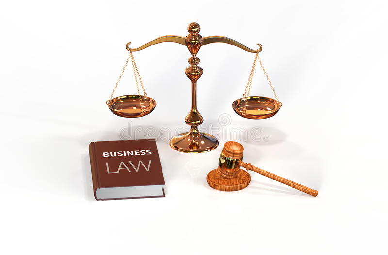 Legal attributes: gavel, scale and law book royalty free stock photos