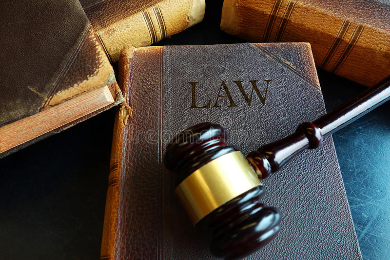 Legal book and gavel stock photo