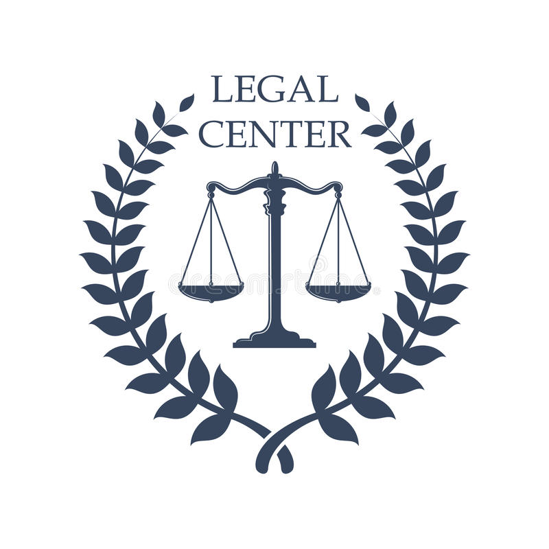 Legal Center emblem with Scales of Justice icon royalty free illustration