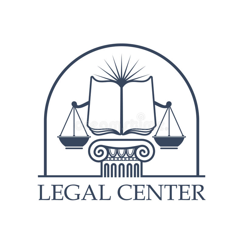 Legal Center Scales of Justice, law open book icon vector illustration