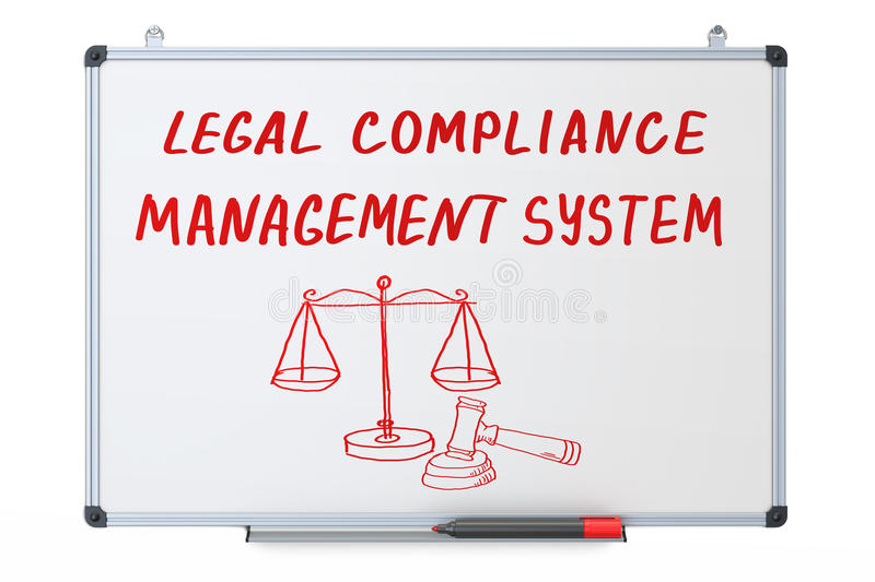 Legal compliance, management system concept on the dry erase vector illustration