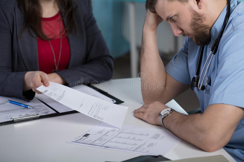 Legal consequences of medical error. Photo of doctor and legal consequences of medical error stock photography