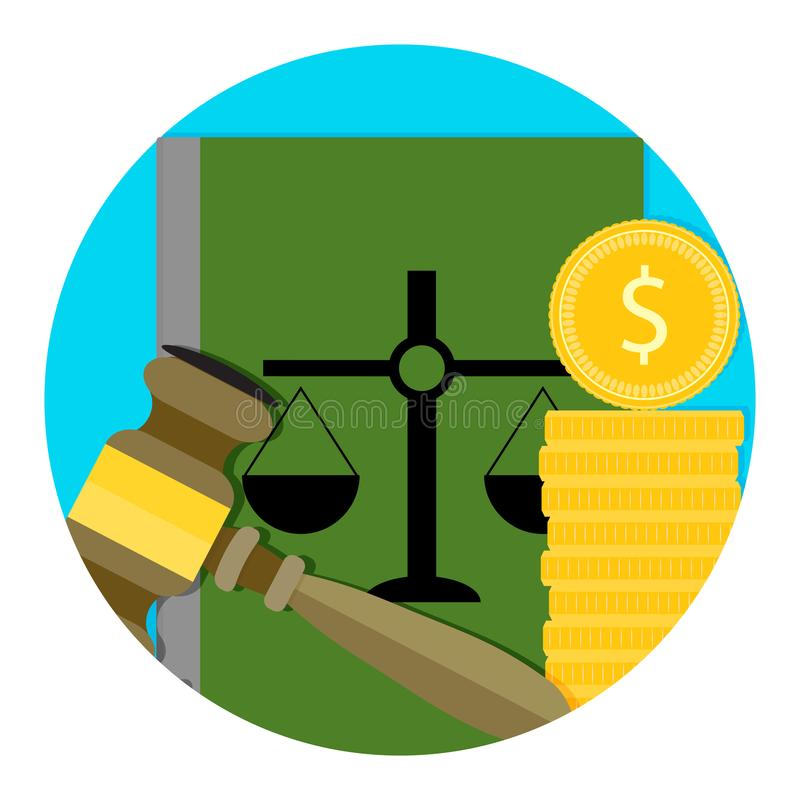 Legal consultation fee icon. Bribe for judgment, coin for order. Vector illustration royalty free illustration