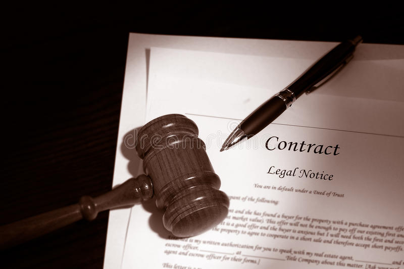 Legal contract. Legal gavel and law contract stock photography