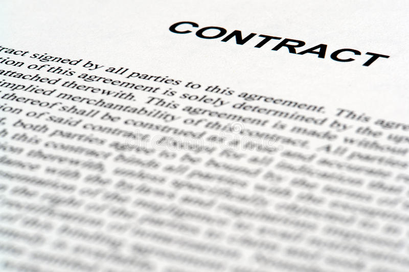 Legal Contract Document in Common Law English royalty free stock photography