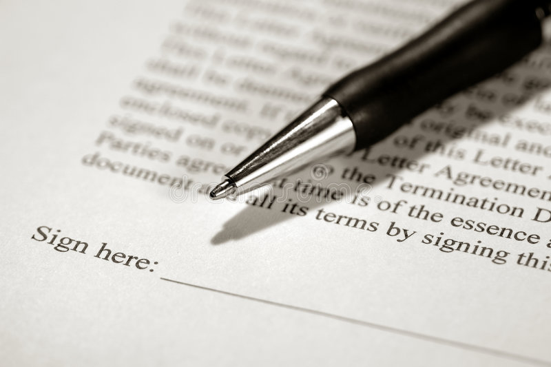 Legal Contract Ready To Be Signed With Ink Pen Stock Image  Image