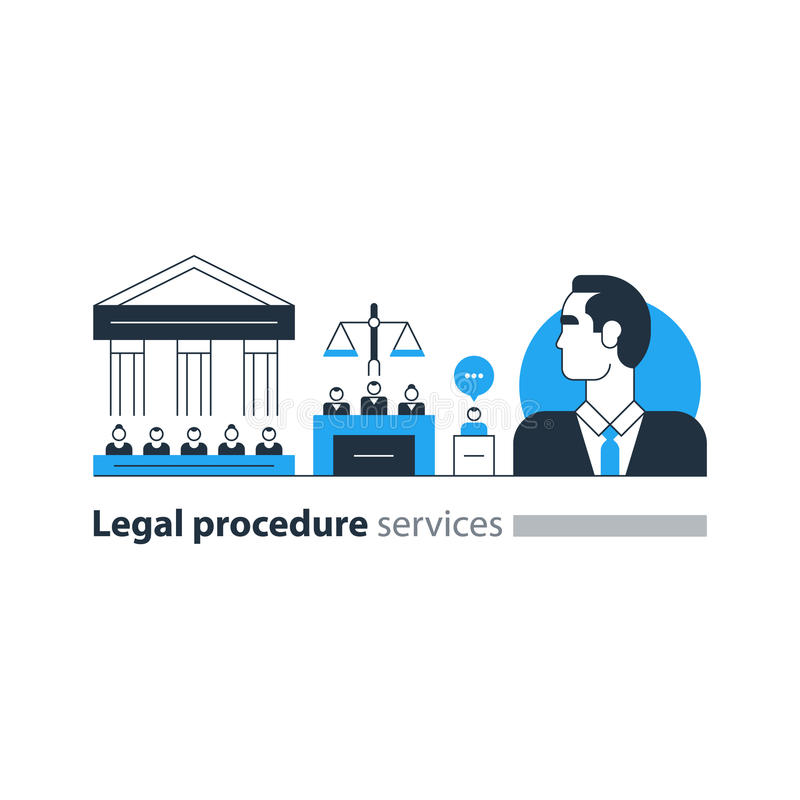 Legal court house trial services icons, lawyer man, advocacy attorney expert. Flat design vector illustration. Court house trial case royalty free illustration