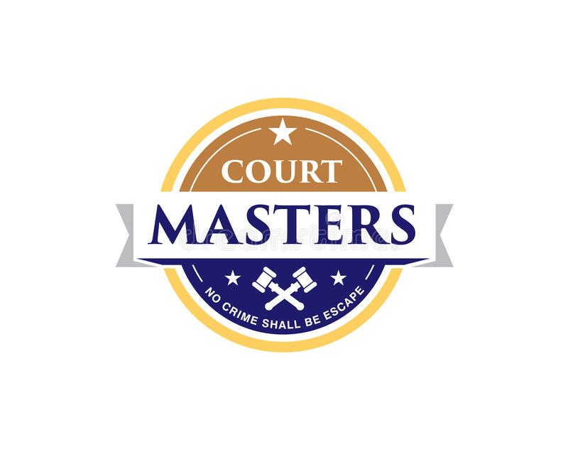 Legal court master emblem logo with hammers and star. Legal court master emblem logo with hammers star and ribbon royalty free illustration