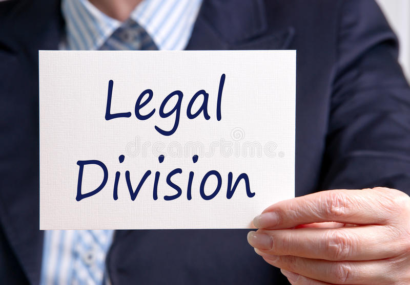Legal Division. Businesswoman holding sign with text stock images