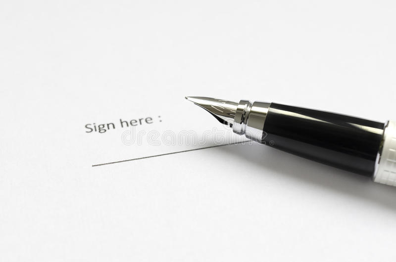 Legal document ready to sign stock photography