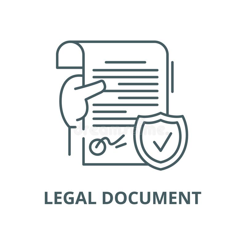 Legal document vector line icon, linear concept, outline sign, symbol. Legal document vector line icon, outline concept, linear sign royalty free illustration