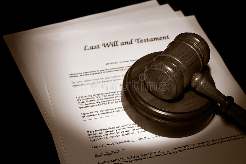 Legal documents. Judge's legal gavel on Last Will documents royalty free stock photography