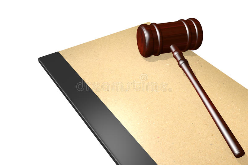 Legal documents concept. Legal documents folder with gavel isolated on white royalty free illustration