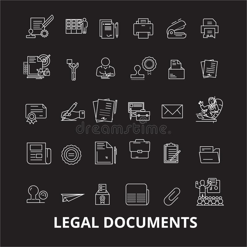 Legal documents editable line icons vector set on black background. Legal documents white outline illustrations, signs. Symbols stock illustration