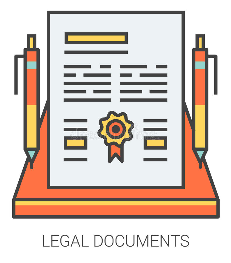 Legal documents line icons. vector illustration