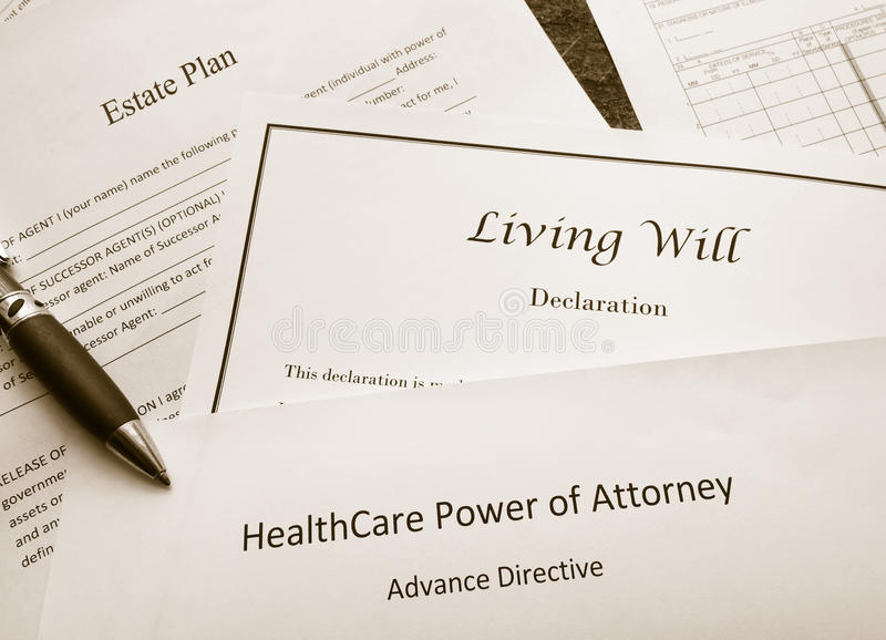 Legal and estate planning documents. Estate Plan, Living Will, and Healthcare Power of Attorney documents stock photos