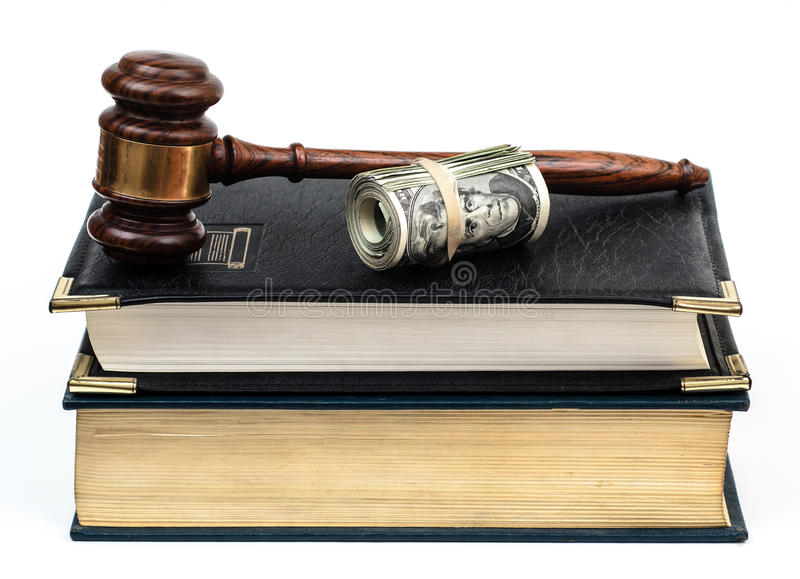 Legal expense with law books gavel fines royalty free stock photos