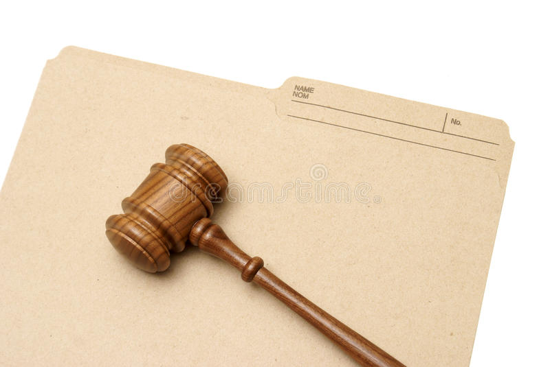 Legal Folder. A gavel and folder represent legal documents stock photography