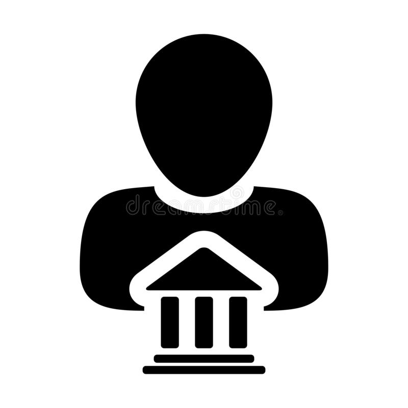 Free Legal Icon Vector With Male Person Profile Avatar With Building Symbol For Law And Justice In Glyph Pictogram Royalty Free Stock Image - 144250966
