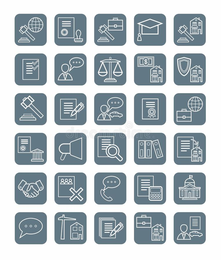 Legal icons, linear, gray, monochrome. Vector icons of legal services. Linear, flat, white icons on a gray background vector illustration