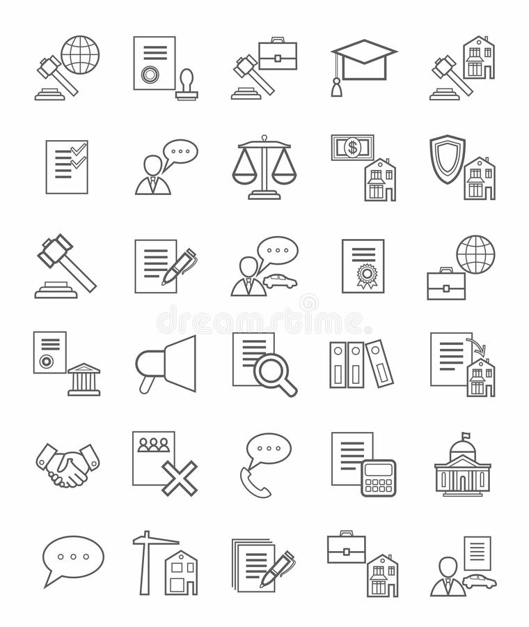Legal icons, linear, monotone. Vector icons of legal services. Monotone, linear, flat icons on white background royalty free illustration