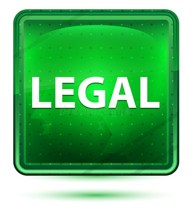 Legal Neon Light Green Square Button royalty free illustration