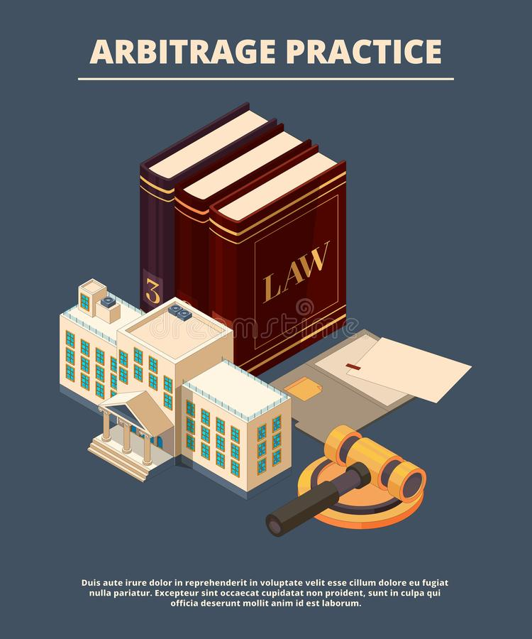 Legal justice concept. Judge law books and hammer prosecution courtroom female femida richter vector symbols isometric. Juridical courthouse, judicial book stock illustration