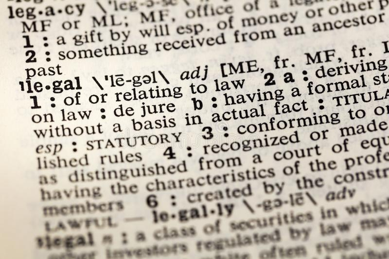 Legal law basis fact dictionary book. Legal law basis fact dictionary definition word formal statutory stock photo