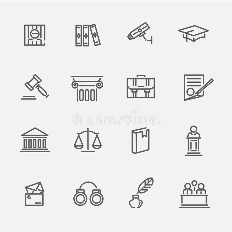Legal, law and justice icon set vector illustration