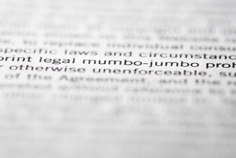 Legal mumbo-jumbo stock image