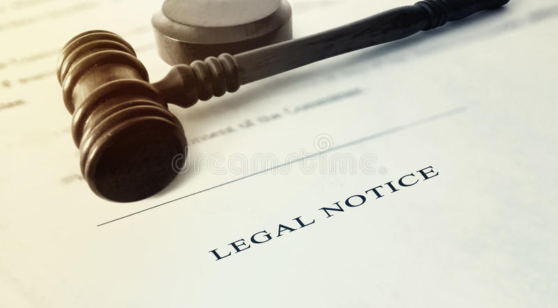Legal Notice royalty free stock photography