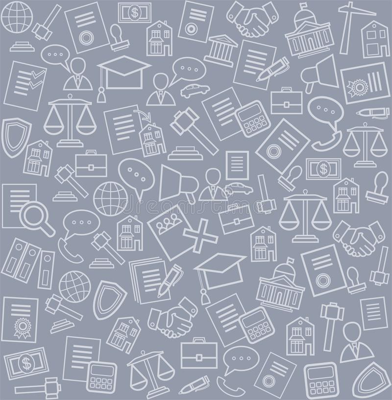 Legal services, background, gray. Vector seamless pattern with linear icons of legal services on a gray background royalty free illustration