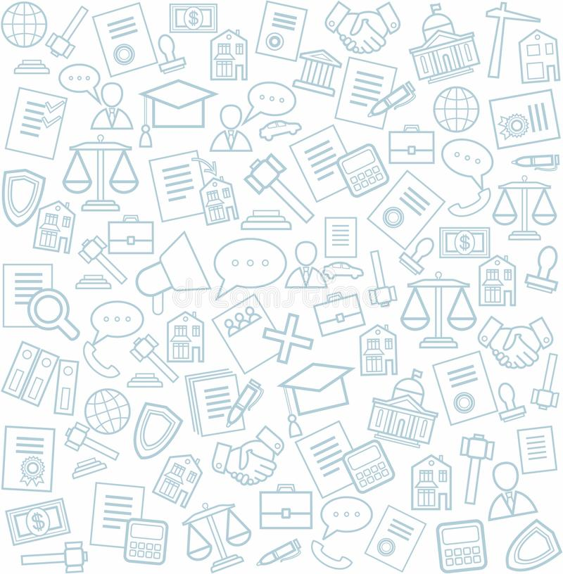 Legal services, background, seamless, white. Blue line legal services icons on white background. Vector seamless background stock illustration