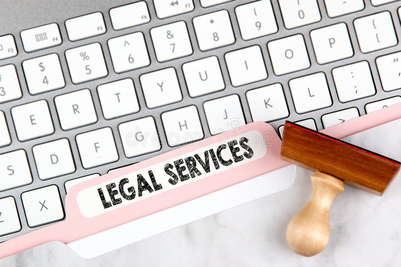 Legal Services Concept. Folder Register on Background of Computer Keyboard stock photos