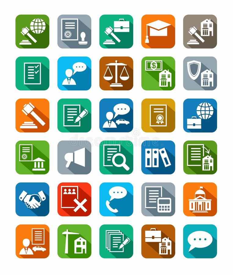Legal services, icons, color with shadow. Vector icons of legal services. White flat icons on a colored background with a shadow stock illustration