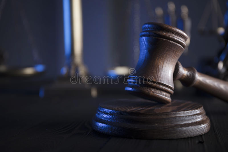 Legal system concept. Law concept. Lawyers office. Mallet of the jugde. Scale of justice stock images