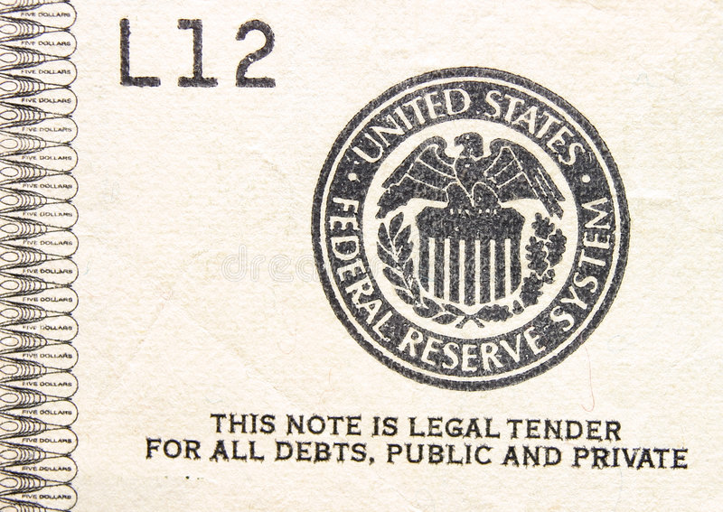 Legal Tender Stamp on Money royalty free stock photography