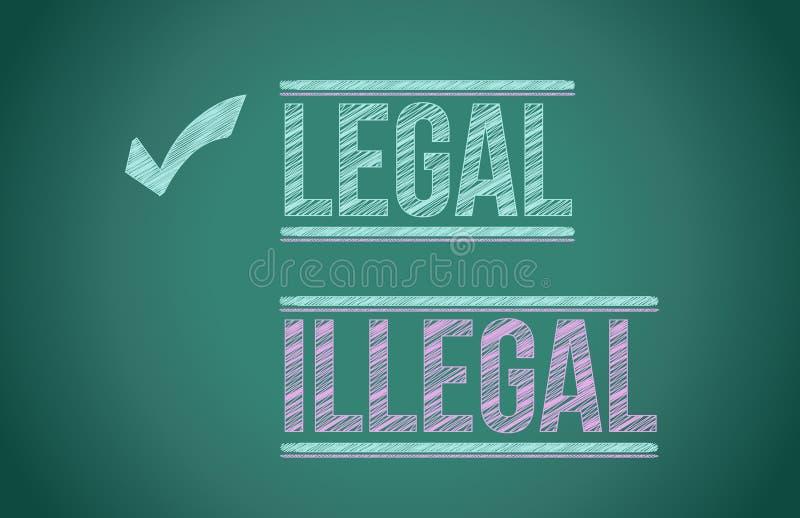 Legal vs illegal. Illustration design over a blackboard stock illustration